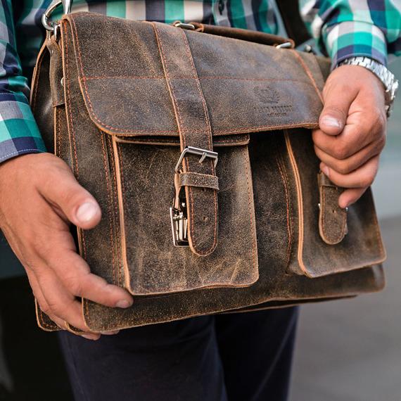 Włoska teczka torba męska skórzana vintage Paolo Peruzzi 045TM brązowa