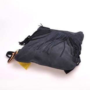 Włoska torebka skórzana, plecak z frędzlami MADE IN ITALY Postino 173 granatowa