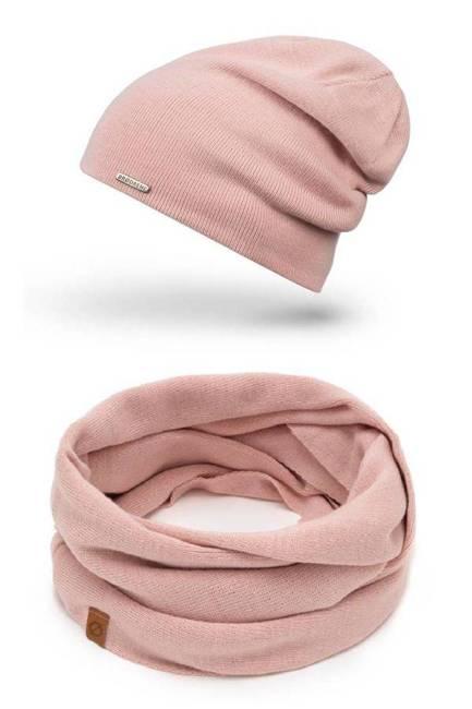 Zestaw czapka komin pudrowy różowy 2w1 Brødrene ZES2ROSE