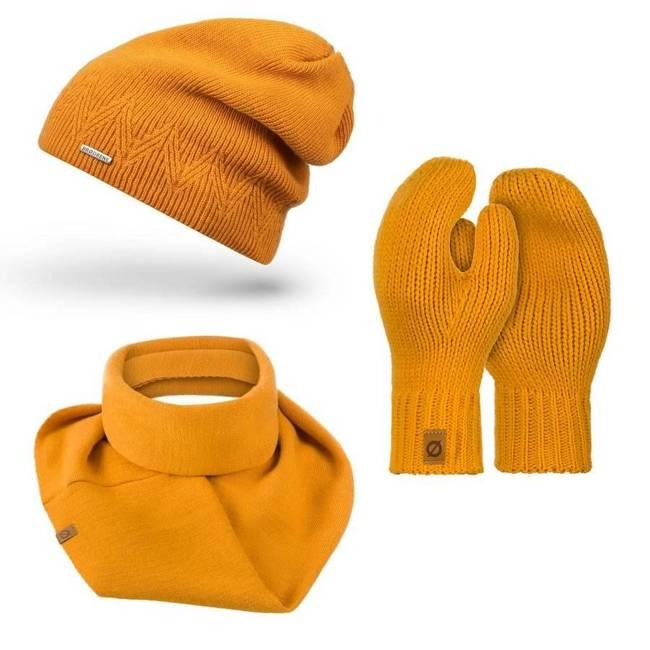 Zestaw czapka rękawiczki komin miodowy Brodrene ZES3OCHRE